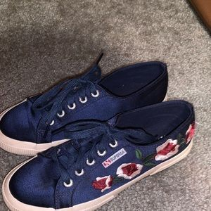 Superga Navy Satin Sneakers